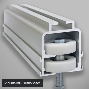 Rail system for glass wall TransSpace