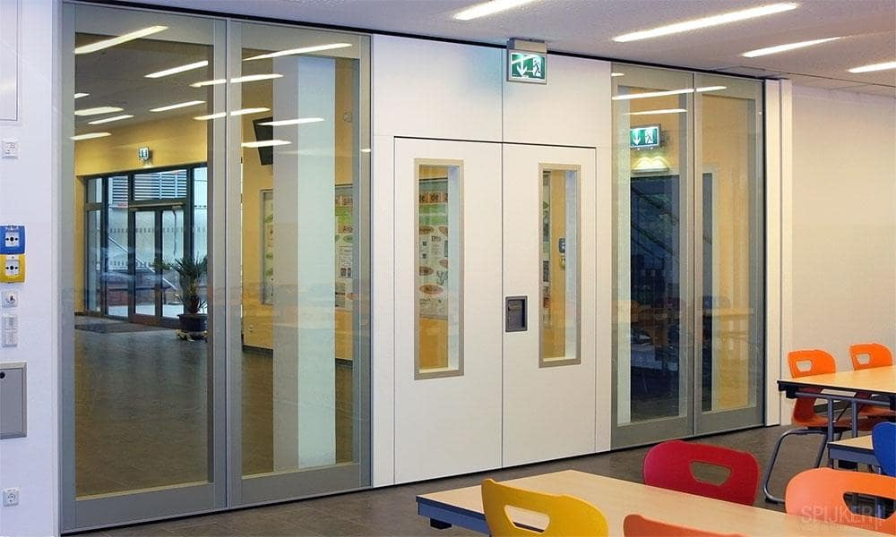 Open, movable, glass partitions at a school