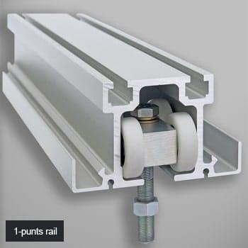 Rail en ophanging van een verplaatsbare wand