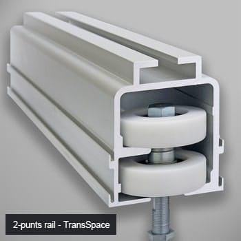 Rail en ophanging van TransSpace glaswanden