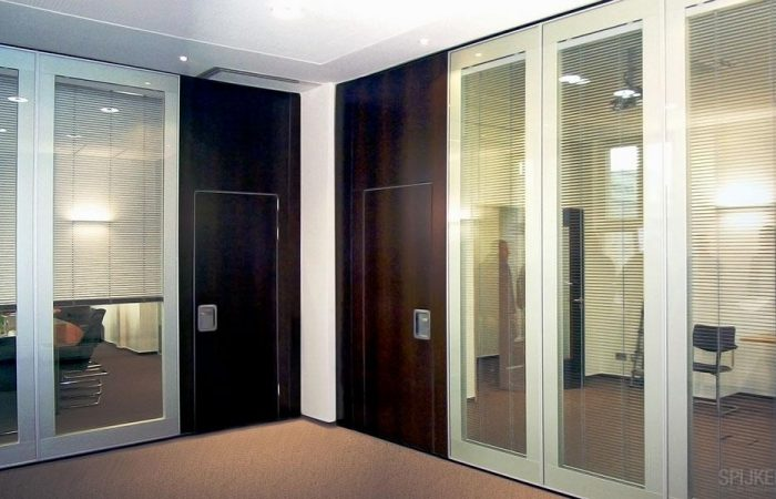 Movable glass partitions at the office