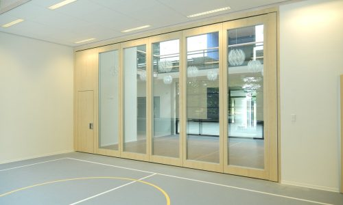 A glass wall for an open atmosphere in a gym
