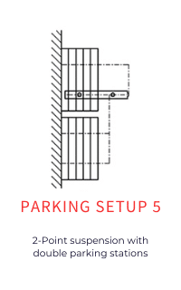 Parking setup for operable partitions