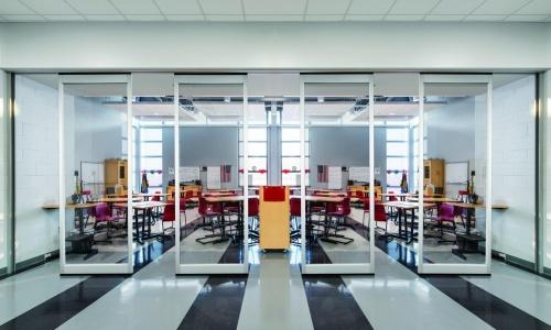 klaslokaal verplaatsbare vouwwand